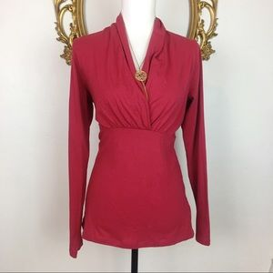 NWT CAbi Dusty Red Long Sleeve Tee Size L